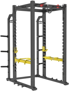 ER KANG Olympic Power Cage Dip Bars and Other Attachments 1000 lbs Light Commercial Weight Cage with LAT Pull-Down Pulley System 360 Degree Landmine