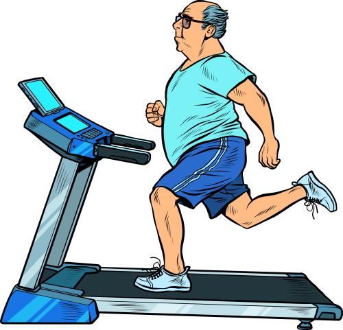 Man With Tummy Running on Treadmill