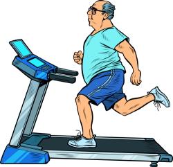 Older Man Running on Treadmill