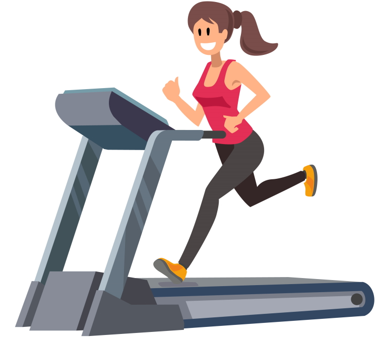 Smiling Woman Running on Treadmill