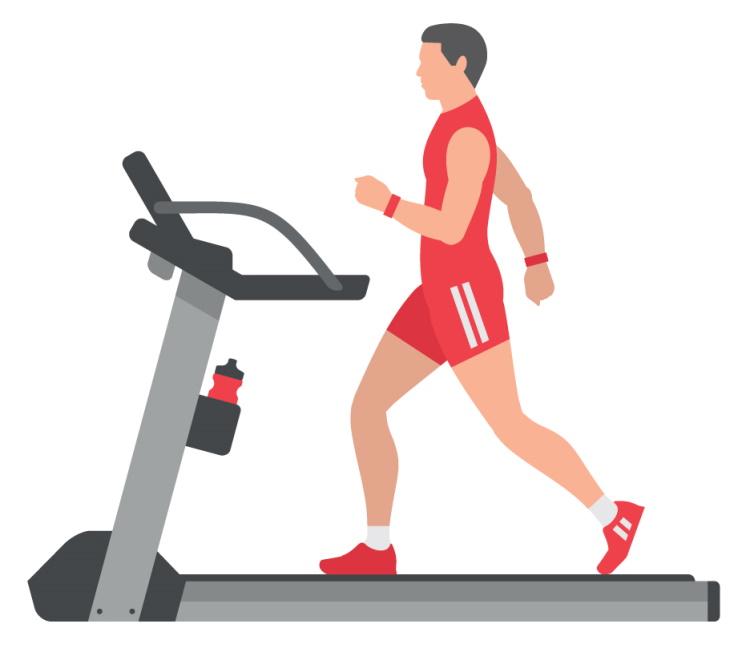 Man in Orange Clothing on Treadmill