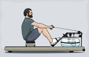Rowing with Grey Background