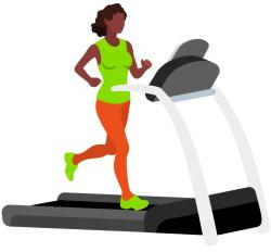 African Amercian Female on Treadmill