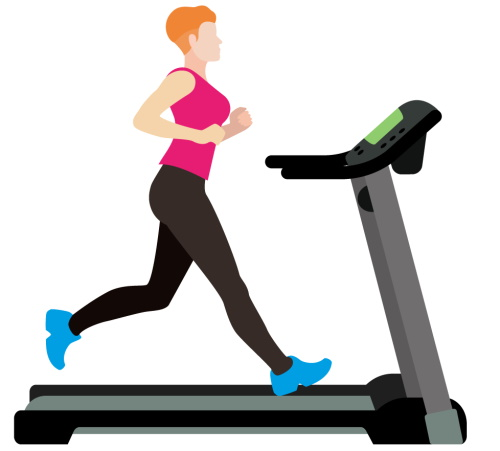 Lady in Pink Top on Treadmill